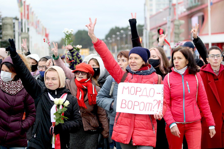 Baltarusijos sostinėje per studentų eitynes sulaikyta mažiausiai 10 žmonių.<br>TASS/Scanpix nuotr.