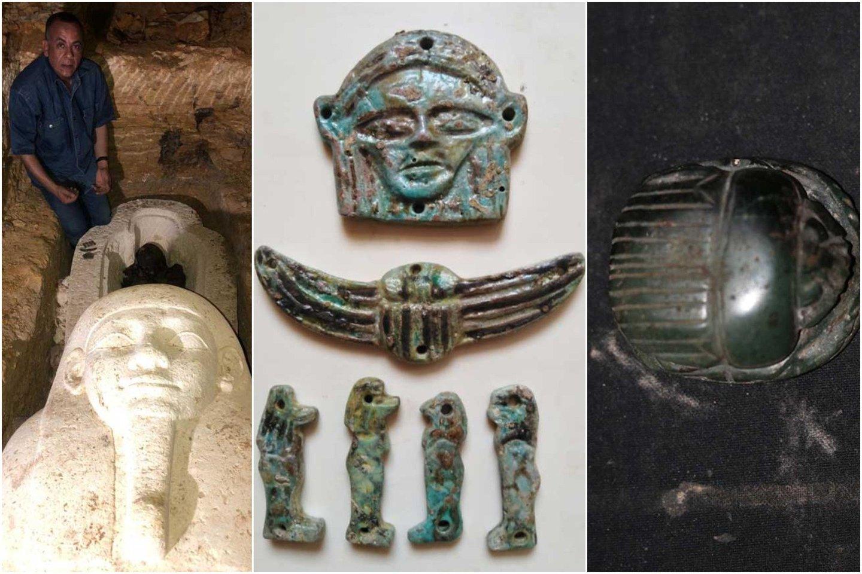 """Senovės egiptiečių Mėnulio dievo Iah-Djehuty vyriausiojo žynio sarkofage aptikta įvairių formų ir dydžių amuletų bei skarabėjo figūrėlių kolekcija.<br>""""Ahram Online"""" nuotr."""