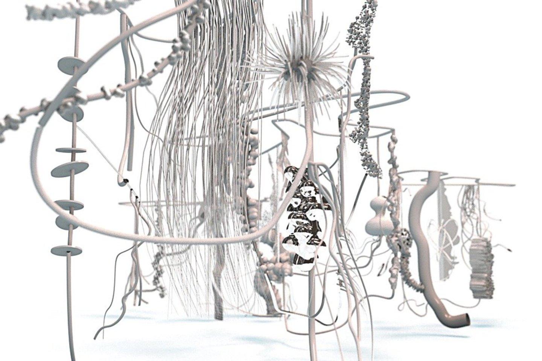 "Dabartinėje VU Baltojoje salėje eksponuojamos A.Ambrazevičiūtės instaliacijos ""Observatorija"" vizualizacija."
