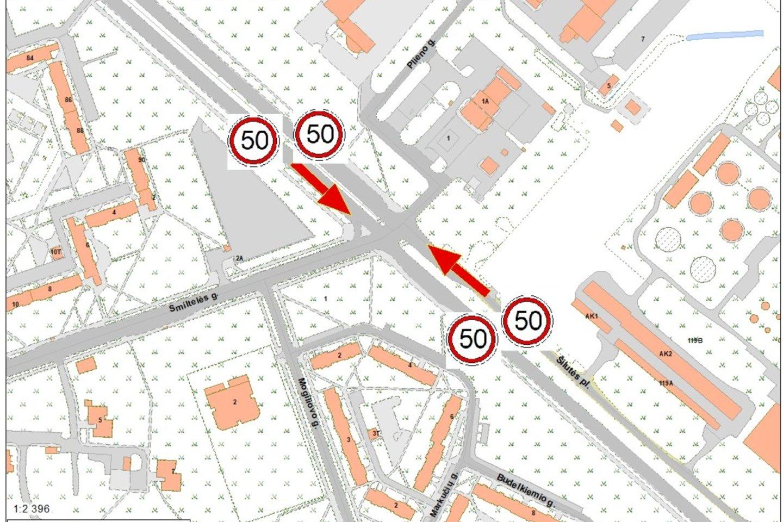 Greitis mažinamas siekiant užtikrinti saugų eismą.<br>Klaipėdos miesto savivaldybės nuotr.