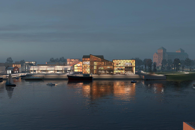 """Architektų biuro """"After Party"""" architektai Giedrius Mamavičius ir Gabrielė Ubarevičiūtė, bendradarbiaudami su Santtu Hyvarinen ir SITOWISE, įveikė 126 konkurentus ir laimėjo 34 ha uosto teritorijos, supančios vieną seniausių Viduramžių pilių Šiaurės Europoje, vystymo konkursą Turku mieste, Suomijoje.<br>Vizual."""