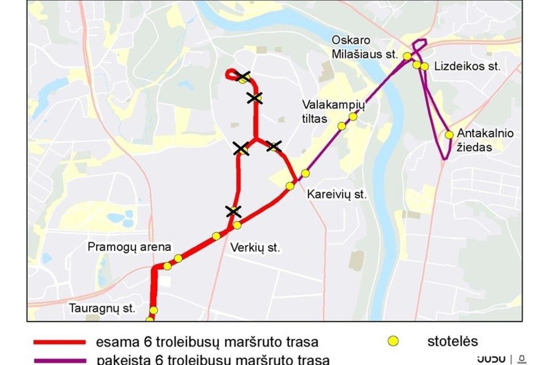 Nuo lapkričio 3 d. dėl remonto darbų Verkių gatvėje keisis 6 troleibusų maršruto trasa ir eismo tvarkaraštis bei 10 troleibusų maršruto tvarkaraštis.<br>Pranešėjų spaudai nuotr.