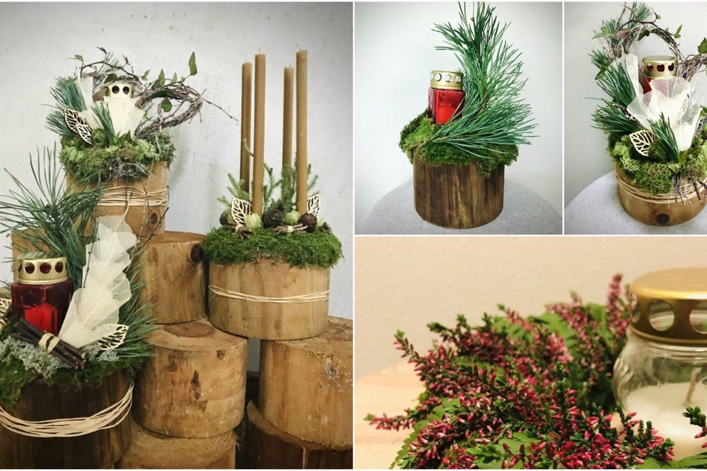 Natūralumo, tvarumo ir atliekų mažinimo tendencijos nebe naujiena Vėlinių floristikoje.<br>M. Azulevičiūtės nuotr.