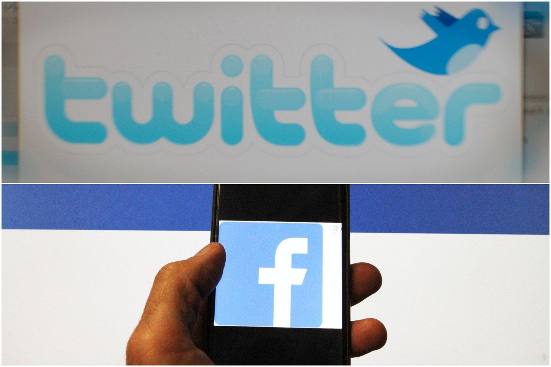 """""""Facebook"""" pelnas šoktelėjo iki 7,8 mlrd. dolerių, """"Twitter"""" – mažėjo iki 29 mln. dolerių.<br>Lrytas.lt montažas."""