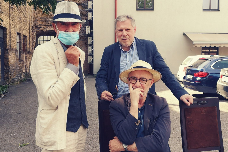 (Iš kairės) R.Tuminas, A.Jacovskis (sėdi) ir F.Latėnas.<br>Asmeninio archyvo nuotr.