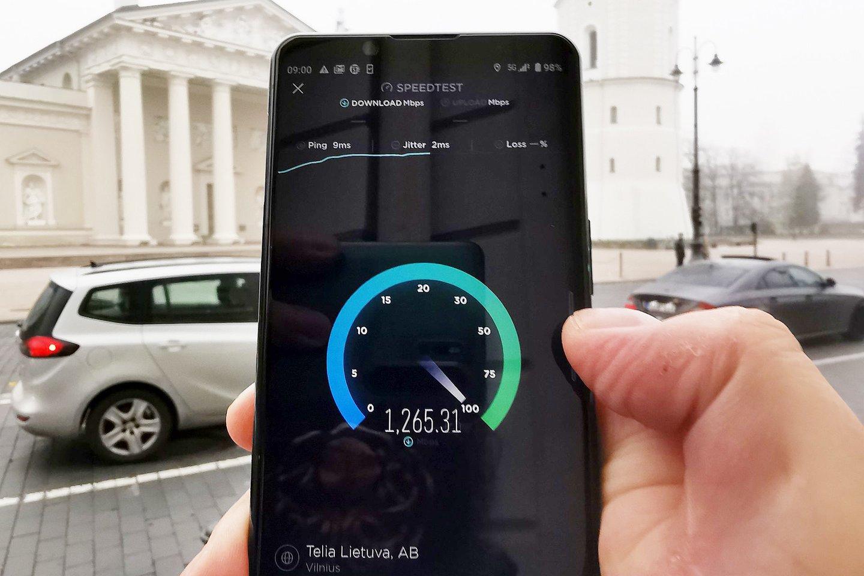 Portalo lrytas.lt atlikti testai rodo, kad duomenų perdavimo greitis Vilniaus centre siekia 1,2 gigabito per sekundę.<br>A. Rutkausko nuotr.