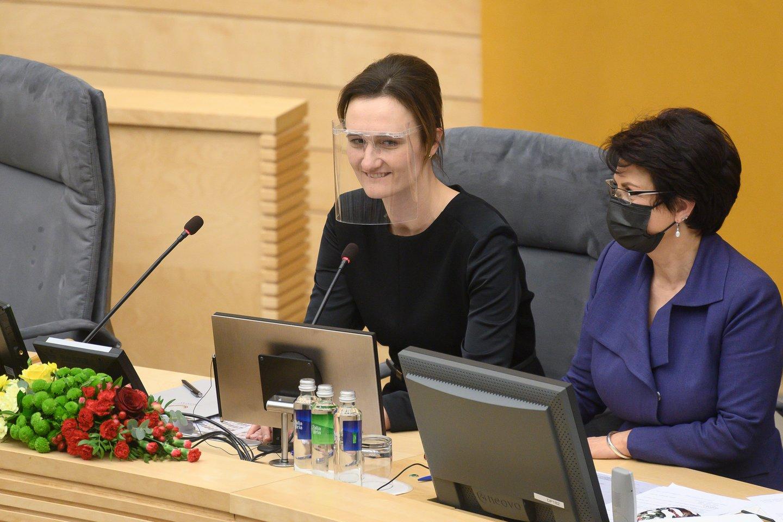 Liberalų sąjūdžio lyderė V. Čmilytė-Nielsen išrinkta Seimo pirmininke.<br>V.Skaraičio nuotr.
