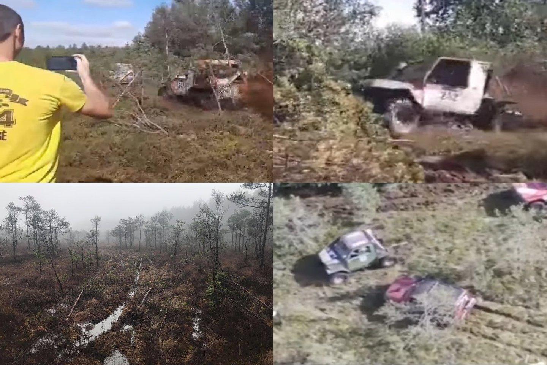 Vaizdo meždžiagoje buvo užfiksuota, kaip visureigiais barbariškai ištaršė unikalų gamtos kampelį.<br>Lrytas.lt archyvo nuotr.
