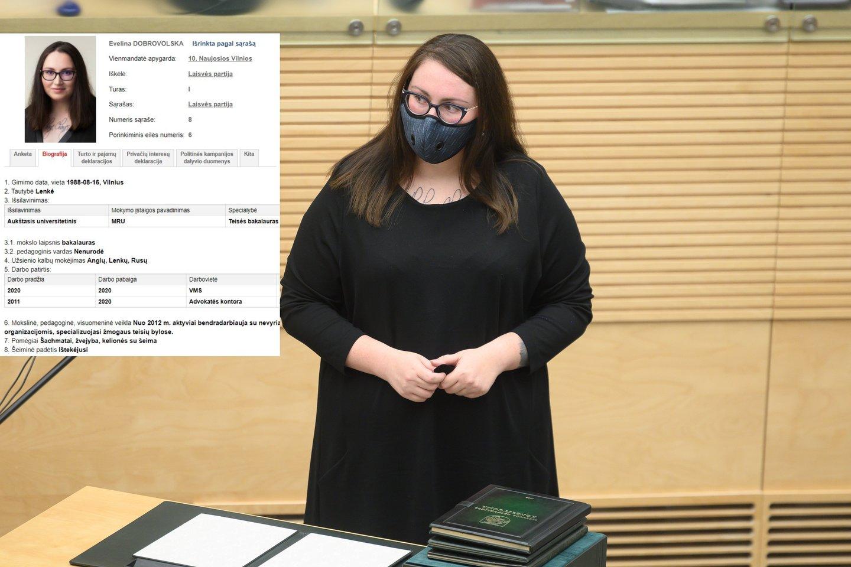 Laisvės partijos kandidatė į teisingumo ministres paaiškino apie niuansus jos deklaracijoje.<br>Lrytas.lt koliažas