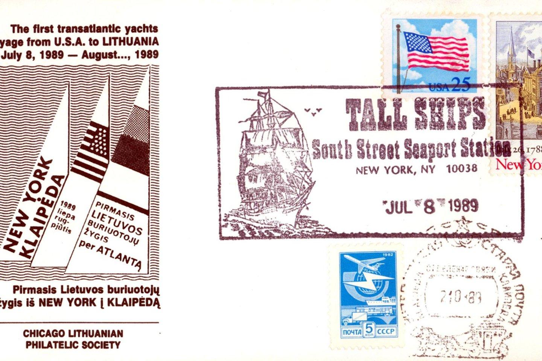 "Transatlantinį žygį primena pašto vokai.<br>Jachtos ""Lietuva"" archyvas."