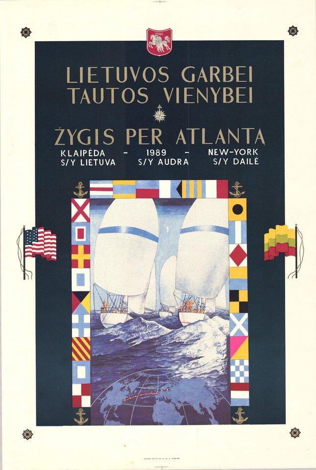 Žygio per Atlantą plakatas.<br>Lietuvos jūrų muziejaus nuotr.