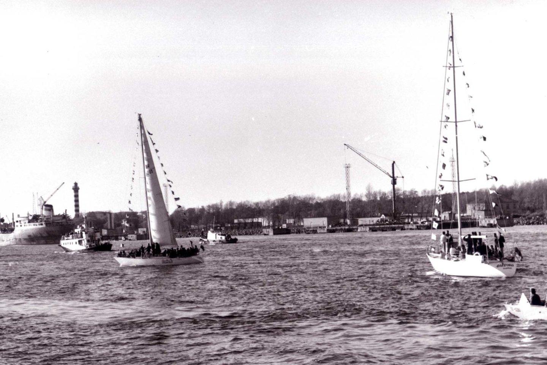 Trijų jachtų žygio per Atlantą startas Klaipėdos uoste.<br>L.Dambrausko nuotr.