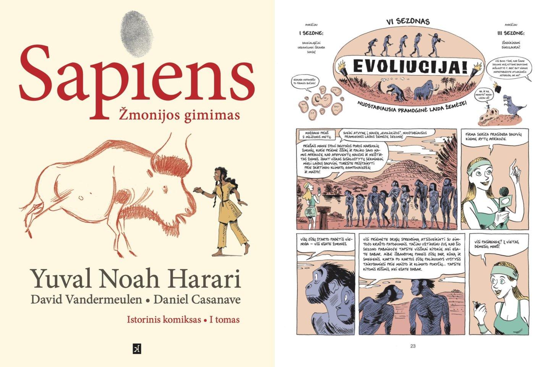 """Bestseleris """"Sapiens. Glausta žmonijos istorija"""" adaptuotas į grafinį komiksą."""