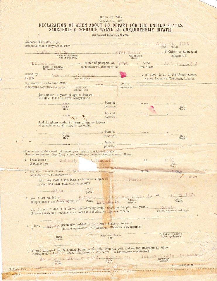 Taube Sobel dokumentai<br>Iš asmeninio archyvo nuotr.