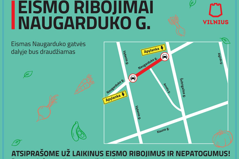 Gatvė bus nepravažiuojama nuo 9 val. 30 min. iki 14 val. 30 min.
