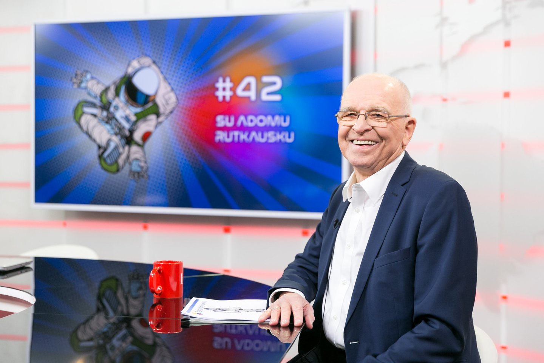 """Prof. L. Telksnys""""Lietuvos ryto"""" laidoje """"42: Apie Gyvenimą, Visatą ir Viską"""", 2019 m.<br>T. Bauro nuotr."""