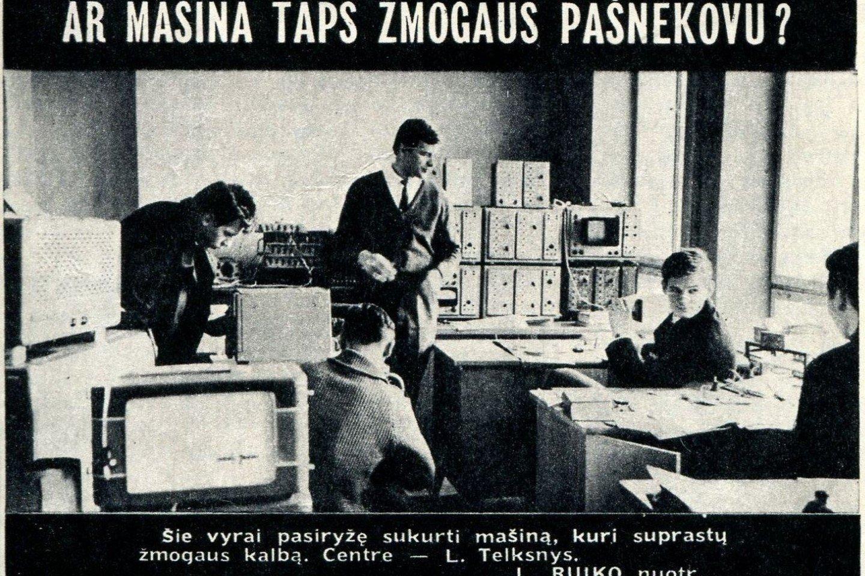 """Nuotrauka iš 1967-ųjų žurnalo """"Jaunimo gretos"""". """"Šie vyrai pasiryžę sukurti mašiną, kuri suprastų žmogaus kalbą."""" Po 50 metų tai pavyko.<br>Asmeninio archyvo nuotr."""