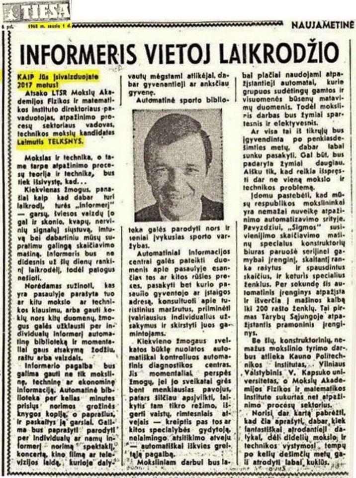 """L. Telksnio """"pranašystė"""", laikraštyje """"Tiesa"""", 1968 m. sausio 1 d."""