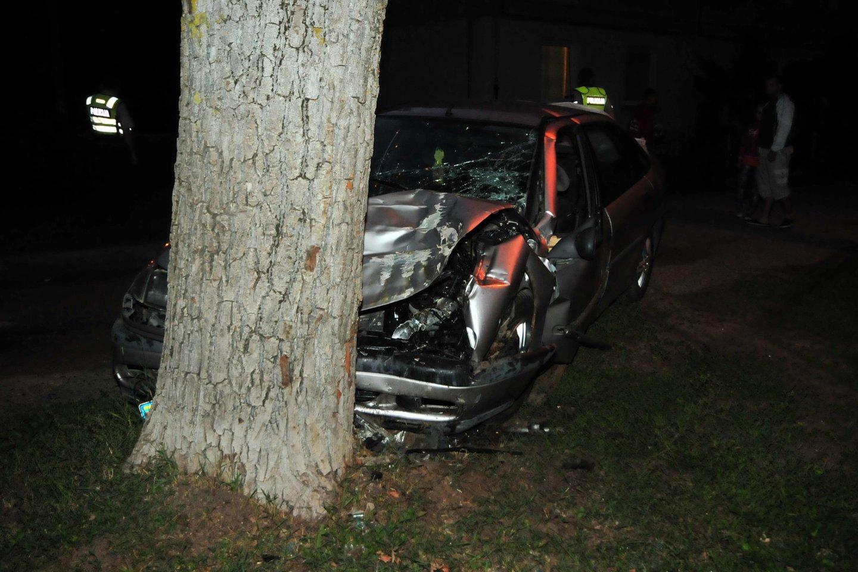 Pasvalio rajone automobiui atsitrenkus į medį, per avariją nukentėjo vaikinas ir mergina.<br>A.Vaitkevičiaus asociatyvioji nuotr.