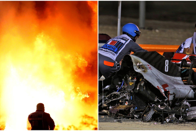 """""""Formulės 1"""" trasoje sprogo bolidas – lenktynininkas liko gyvas stebuklo dėka.<br>Scanpix koliažas."""
