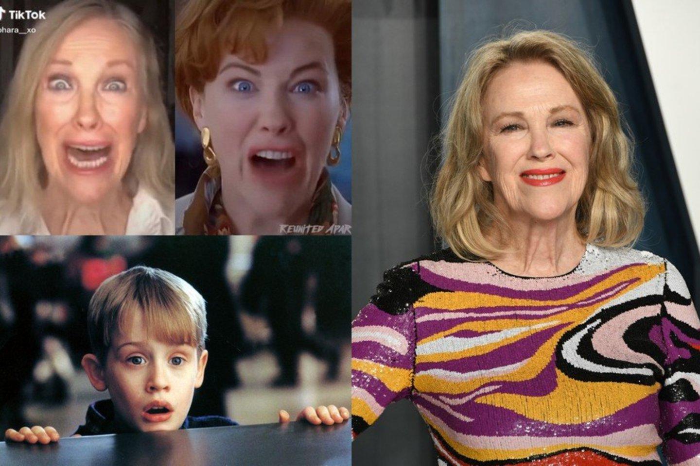 """Nuotaikinga """"Vienas namuose"""" scena sprogdina internetą: po 30 metų įsiamžino aktorė C. O'Hara.<br>LR koliažas."""