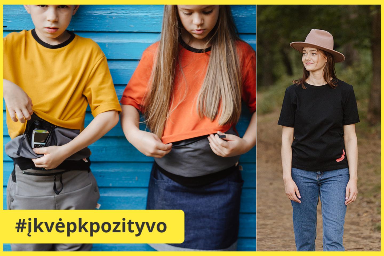 """""""OurPocketHero"""" – pasaulyje analogų neturinti S.Končytės sukurta drabužių linija su specialiomis kišenėmis insulino pompoms.<br>lrytas.lt koliažas"""