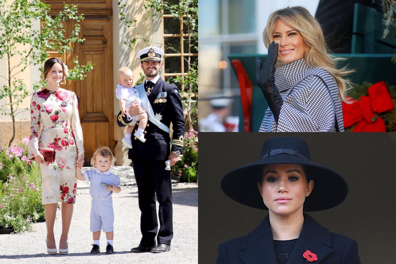 Švedijos princas Carlas Philipas su žmona princese Sofia ir vaikais, Melania Trump ir Meghan Markle.<br>lrytas.lt montažas.