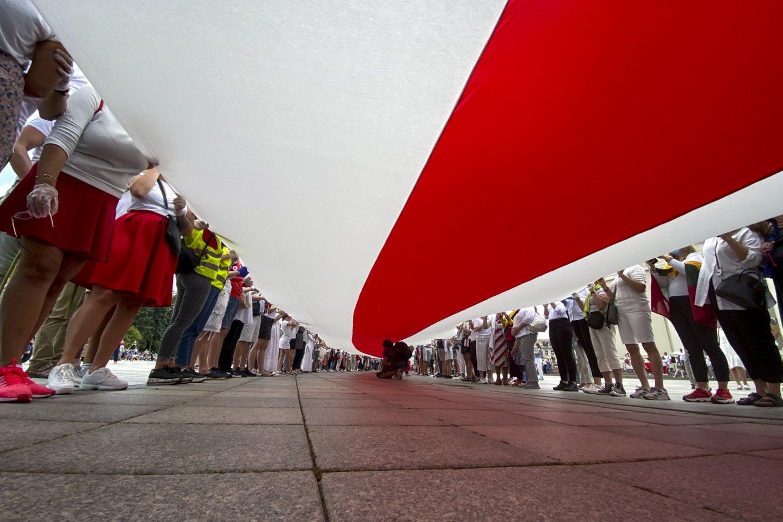 Baltarusijos piliečių palaikymo akcija Katedros aikštėje.<br>V.Ščiavinsko nuotr.