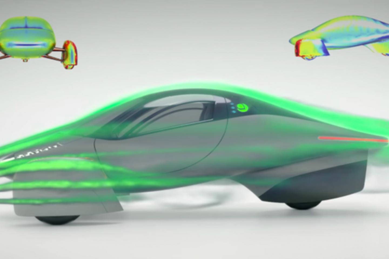 """""""Aptera"""" pristatė savo naujausią saulės energija varomą trijų ratų elektrinį automobilį.<br>Gamintojų nuotr."""