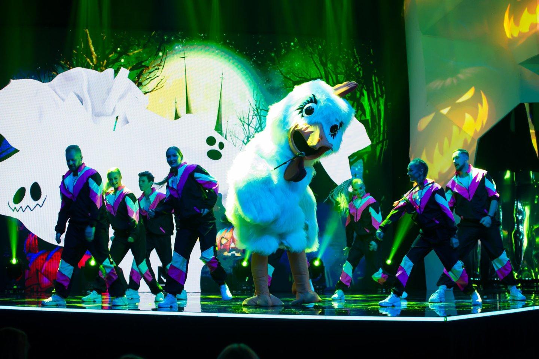 """Šou """"Kaukės"""" dalyvavo įvairiais kostiumais užsimaskavę dainininkai.<br>Organizatorių nuotr."""