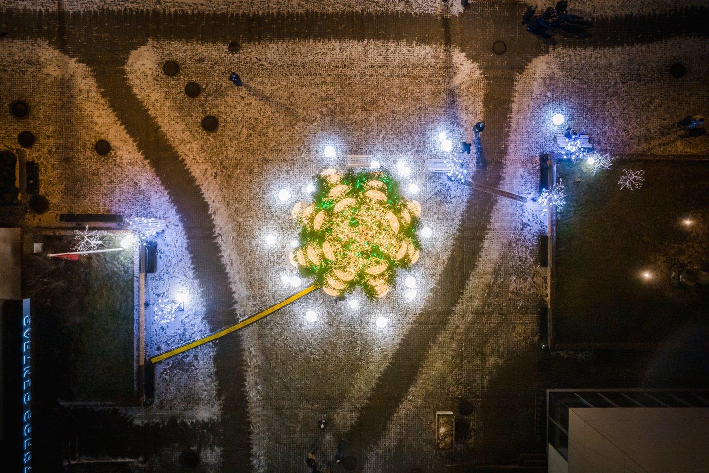 Pasvalio Kalėdų eglė.<br>Mantvydo Drevinsko nuotr.