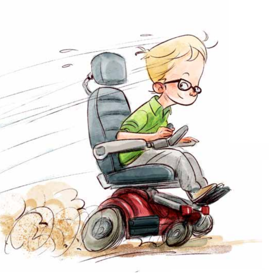 """Ištrauka iš iliustruoto negalių žodynąo vaikams """"Žmogus su negalia irgi gali"""".<br>Knygos iliustracija"""