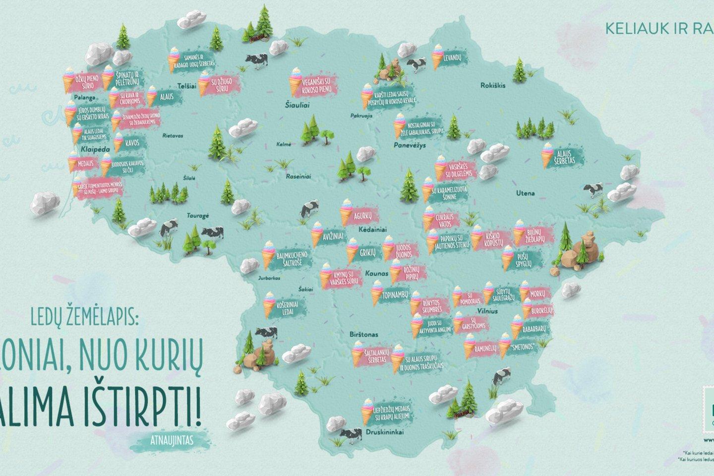 """Ledų žemėlapis.<br>""""Keliauk Lietuvoje"""" nuotr."""