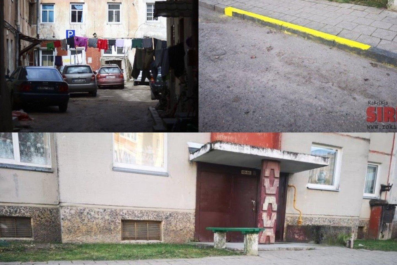 """Panevėžio gatvės vidiniame kieme ties """"kinų siena"""" – aiškus ženklas, kad automobilius keliuko vingyje statyti draudžiama.<br>Lrytas.lt fotomontažas"""