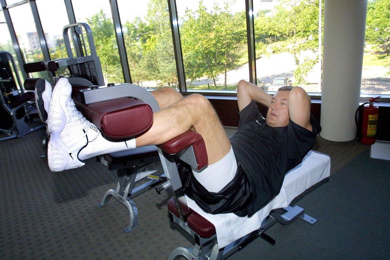 J.Kazlauskas treniruojasi. 2003-ieji.<br>P.Lileikio nuotr.