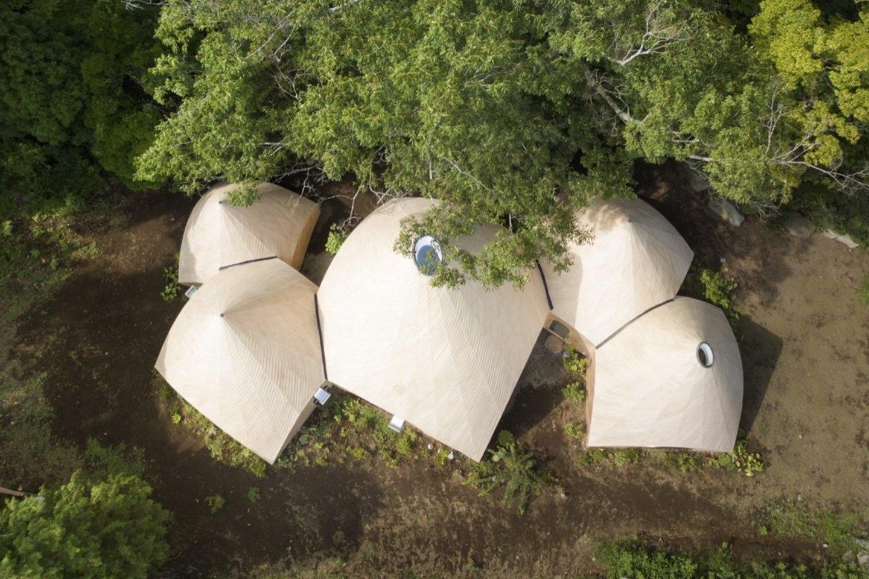 Palapines primenančių statinių grupę Tokijo architektas Issei Suma suprojektavo turėdamas kilnią idėją, kad pastoge bei maistu aprūpintų pagyvenusius mažos japonų bendruomenės gyventojus.<br>Takumi Ota / archdaily.com nuotr.