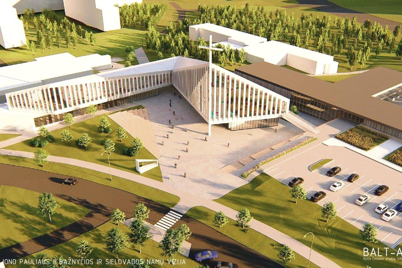 Taip turėtų atrodyti būsimoji Šv.Jono Pauliaus II bažnyčia Pašilaičių rajone.<br>Vizualizacija