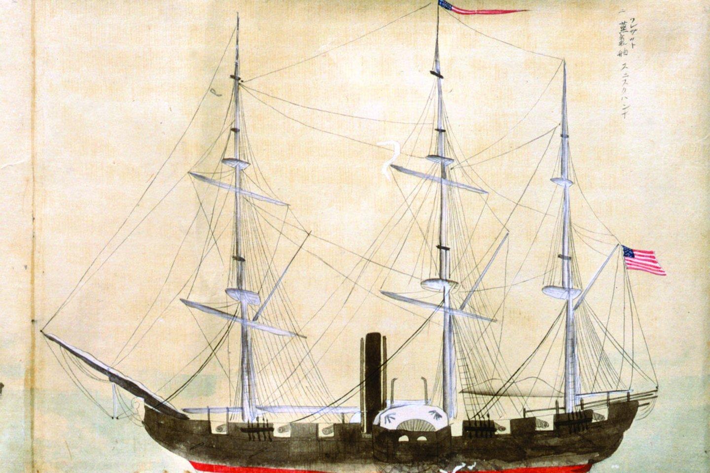 1852–1854 m. komodoro Matthew C. Perrio surengtos amerikiečių ekspedicijos į Japoniją laivas. Perris įplaukė į Tokijo Uragos uostą su keturių garo fregatų eskadra. Japonai sutiko užmegzti diplomatinius ir prekybinius santykius su JAV. Tačiau amerikiečių juodieji laivai, kaip grėsmingų Vakarų technologijų ir kolonializmo simboliai, priplaukė, kad juos pamatytų, taip įžeisdami daugelį japonų.<br>Leidėjų nuotr.