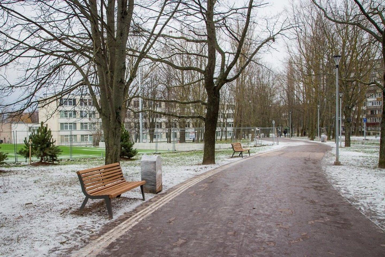 Tarp Kauno ir Paryžiaus Komunos gatvių esančiame parke suformuotos skirtingos zonos, skirtos tiek ramiam poilsiui, tiek aktyviam laisvalaikiui, atnaujinti esami bei nutiesti nauji takai, sutvarkyta tvenkinio pakrantė.<br>Klaipėdos savivaldybės nuotr.