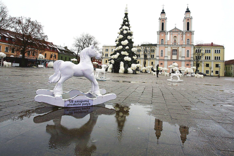 Eglės dekoracijos puikiai gali papuošti kitas Kauno viešąsias erdves.<br>M.Patašiaus nuotr.