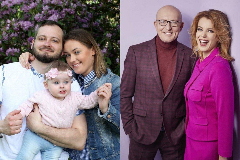 Arūno Valinsko jaunesniojo šeima (kairėje) ir Arūnas Valinskas su žmona Inga.<br>lrytas.lt koliažas.