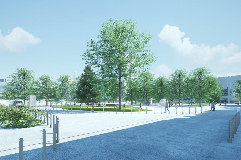 Po rekonstrukcijos Studentų skveras stilistiškai taps panašus į priešaisesančią Vienybės aikštę, nes istoriškai šios dvi erdvės buvo vienabendra kauniečių susibūrimų vieta.<br>Vizualizacija