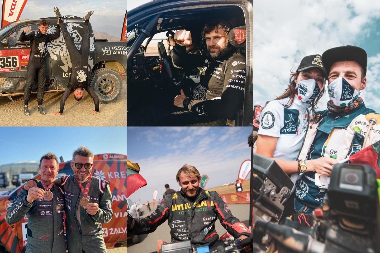 Vėlų šeštadienio vakarą į Vilniaus oro uostą parskrido Lietuvai Dakare atstovavę lenktynininkai.<br>lrytas.lt fotomontažas