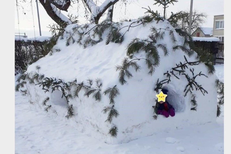 Vilainių seniūnijos Aristavos kaime sniego namą nusprendė nulipdyti vietos gyventojas Jonas Kairys. Į talką seneliui atskubėjo ir tame pačiame kaime gyvenantys jo anūkai.<br>Asmeninio archyvo nuotr.