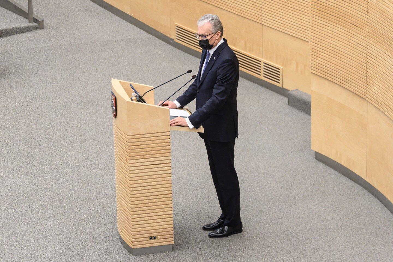 Prezidentas Gitanas Nausėda, Seime<br>V.Skaraičio nuotr.