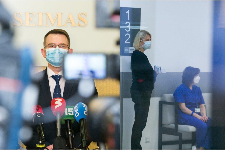 Sveikatos apsaugos ministro Arūno Dulkio teigimu, be eilės pasiskiepyti užlindę asmenys antrąją vakcinos dozę gaus, tačiau kartu su ja jų gali laukti ir tūkstantinės baudos.<br>Lrytas.lt koliažas