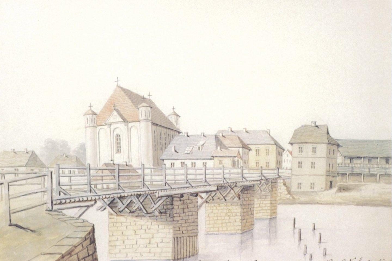Seniausias Nevėžio tilto vaizdas. 1875 metų Napoleono Ordos piešinys.