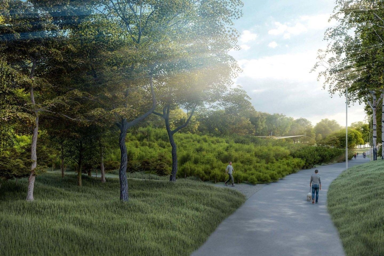 """Planuojama sutvarkyti aplinką, išplėtoti pėsčiųjų ir dviračių takų infrastruktūrą, įrengti vaikų žaidimo aikštelių, suoliukų.<br>""""Sweco"""" vizualizacija."""