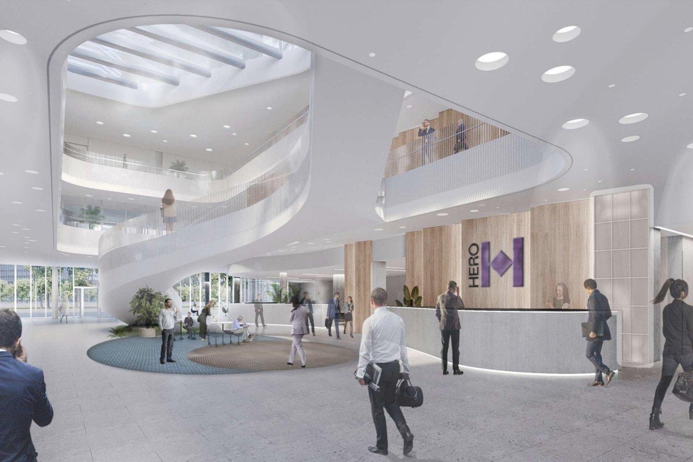 """Projekto iniciatorė bendrovė """"Realco"""" teigia, kad jau šiemet bus pradėti statyti pirmieji Lietuvoje sveikieji biurai. Šioje vietoje numatoma statyti du 15-kos aukštų verslo centro korpusus, o bendras nuomojamas plotas sieks beveik 30 000 kv. m.<br>Vizual."""