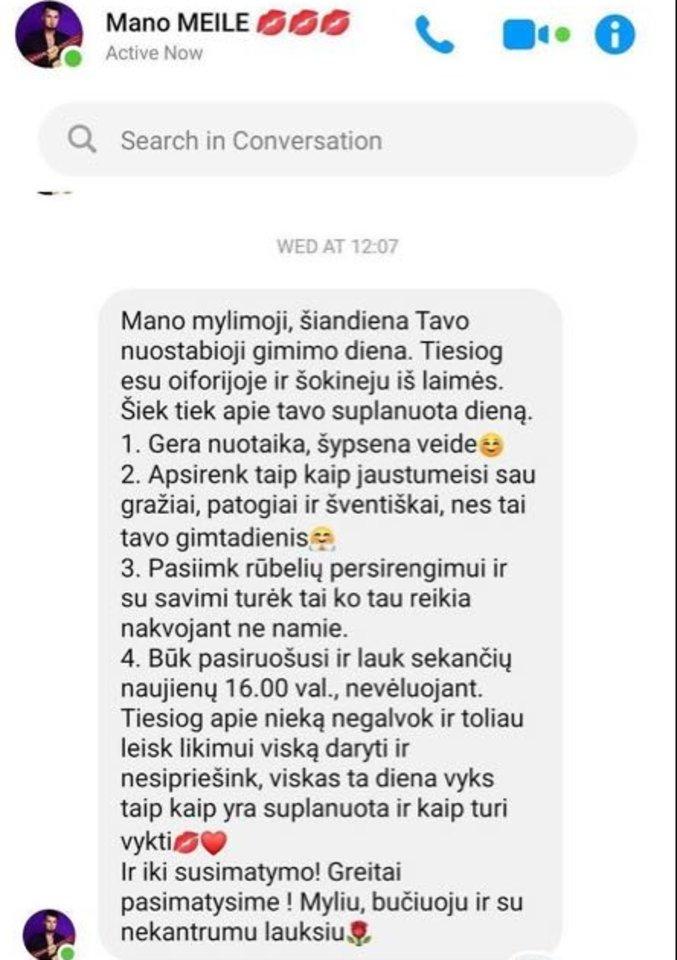 Vytenis Partikas savo žmonai Justinai atsiuntė gimtadienio dienos planą.<br>Asmeninio albumo nuotr.